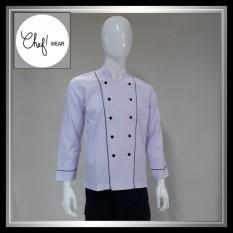 Chef Wear Baju Koki Putih Lengan Panjang S-XL
