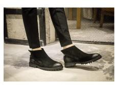 Chelsea Gaya Jepang Kulit Pria Dr. Martens Boots (Hitam)