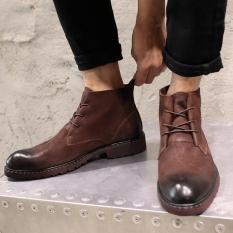 Chelsea Gaya Jepang Kulit Pria Dr. Martens Boots (Kopi-[Ditambah Beludru])
