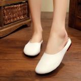 Toko Chennai Puisi Retro Kulit Perempuan Asli Sepatu Baotou Sendal Putih Sepatu Wanita Sandal Wanita Oem Tiongkok
