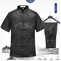 Cheongsam untuk Pria Cina Tradisional Tang Suit Jersey untuk Kung Fu Tai Chi Seragam Lengan Pendek Ukuran Lebih Atasan Mantel + Celana Set Hitam-Intl
