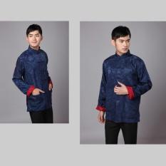 Cheongsam untuk Pria Cina Tradisional Tang Suit Dua Side Wear untuk Pernikahan, Perayaan, Festival China (biru + Merah)-Intl