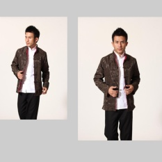 Cheongsam untuk Pria Cina Tradisional Tang Suit Dua Side Wear untuk Pernikahan, Perayaan, Festival China (Dark Hijau + Merah)-Intl