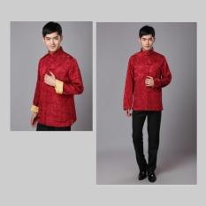 Spek Cheongsam Untuk Pria Cina Tradisional Tang Suit Dua Side Wear Untuk Pernikahan Perayaan Festival China Emas Merah Intl Tiongkok