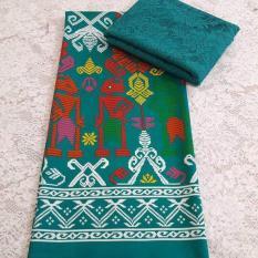 Cherry Kebaya Bali Murah set kain satin songket wayang tosca dan atasan brokat sofia tosca KC3064