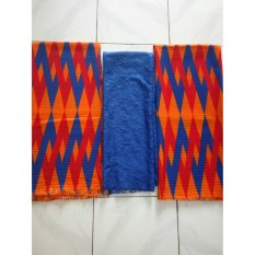 cherry kebaya bali set COUPLE kain satin Zig Zag orange dan atasan brokat sofia BIRU KC3071