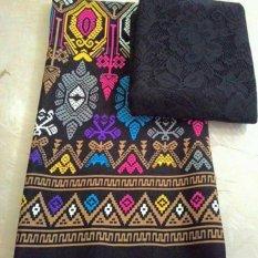 Cherry kebaya bali set kain satin pertiwi hitam dan atasan brokat hitam kc3083