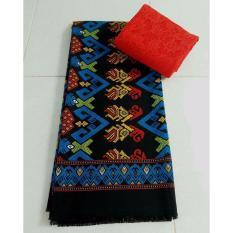Cherry- Set kain satin bali murah songket bisma turkis dan brokat merah lembaran - merah