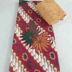 cherrykebaya - setelan kain satin bunga camelia batik uk. 2 mtr dan brokat lembaran uk