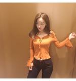 Jual Chic Gaya Korea V Neck Slim Bawahan Atasan Temulawak Kuning Online Di Tiongkok
