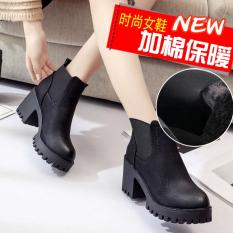 Chic Korea Fashion Style Perempuan Dr. Martens Bertumit Tinggi Sepatu Kulit (Hitam Ditambah Katun 720242)