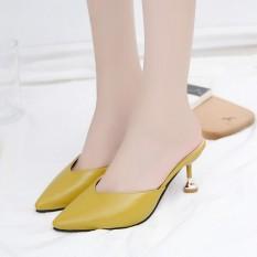 Sandal wanita musim semi modis di luar sepatu perempuan 2019 model baru chic netral tumit tinggi sandal wanita Hak Tipis bagian depan tajam sandal