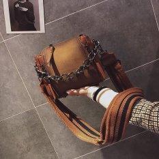 Chic Retro Baru Tali Bahu Lebar Jinjing Tas Wanita Tas Rantai Perhiasan Tas Bucket (Coklat)