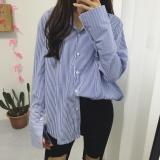 Jual Baju Panjang Garis Biru Lengan Panjang Longgar Wanita Gaya Korea Biru Biru Oem Di Tiongkok