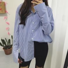 Top 10 Baju Panjang Garis Biru Lengan Panjang Longgar Wanita Gaya Korea Biru Biru Online