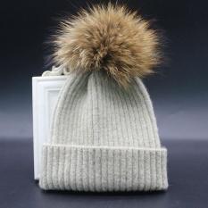 Anak Anak Laki-laki dan Perempuan Musim Dingin Topi Kashmir Fur Wol Knit Beanie Raccoon Hangat CapBG-Intl