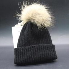 Anak Anak Laki-laki dan Perempuan Musim Dingin Topi Kashmir Fur Wol Knit Beanie Raccoon Hangat CapBK-Intl