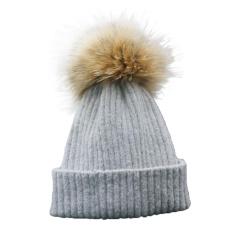 Anak Anak Laki-laki dan Perempuan Musim Dingin Topi Kashmir Fur Wol Knit Beanie Raccoon Hangat CapGY-Intl