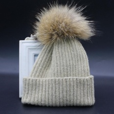 Child Boys and Girls Winter Cashmere Hat Fur Wool Knit Beanie Raccoon Warm CapKH