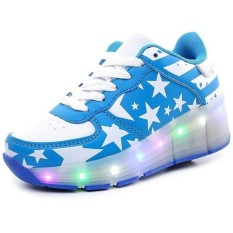 Anak Perempuan Anak Laki-laki LED Ringan Alat Penggulung Luncur Sepatu  Pulley Sepatu Otomatis abb786f41c