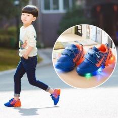 Ulasan Mengenai Children Boys Girls Sepatu Lari Bercahaya Sneakers Led Light Upkids Sepatu Biru Intl
