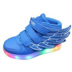 Children Boys Girls Menjalankan Sayap Sepatu Luminous Sneakers LED Light Up Kids SNEAKER