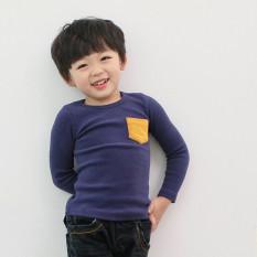 Harga Anak Pakaian Candy Color T Shirt Boys Girls Kids Kasual Berlengan Panjang Untuk Pria T Shirt Biru Tua Di Tiongkok