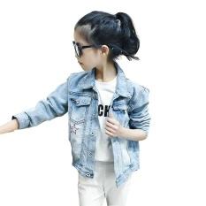 Anak-anak Mantel Denim untuk Kostum Gadis Turn-Down Collar Girls Jaket Musim Semi Musim Gugur Kartun Anak-anak Pakaian Kasual Kids Tops 120-160-Intl