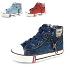 Pusat Jual Beli Anak Anak Fashion Ritsleting Sisi Desain Denim Kanvas Sepatu Kasual Bernapas Kids Sport Sneakers Deep Blue Intl Tiongkok