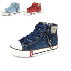 Toko Anak Anak Fashion Ritsleting Sisi Desain Denim Kanvas Sepatu Kasual Bernapas Kids Sport Sneakers Deep Blue Intl Lengkap Di Tiongkok