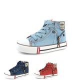 Spesifikasi Anak Anak Fashion Ritsleting Sisi Desain Denim Kanvas Sepatu Kasual Bernapas Kids Sport Sneakers Biru Muda Intl