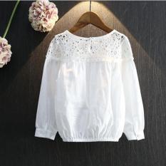 Anak-anak Hollow Out Splicing Blus Puff Lengan Lengan Panjang Gadis Bunga Putih Kemeja Tombol Anak-anak Sederhana Musim Semi Musim Gugur Blus- INTL