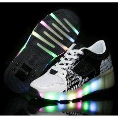 Children LED Light Heelys Jazzy shoes Boys Girls Heelys Roller shoes Skate shoes Children sports shoes 27-43 white black SWISSANT @