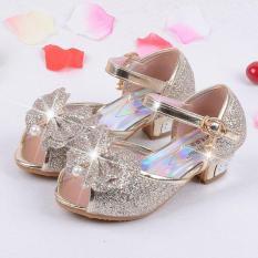 Anak Putri Sandal Anak Perempuan Pernikahan Sepatu High Heels Gaun Sepatu Partai Sepatu untuk Gadis Kulit Bowtie-Intl