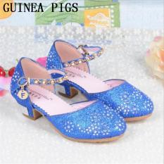 Anak Putri Sandal Anak Perempuan Pernikahan Sepatu High Heels Gaun Sepatu Partai Sepatu untuk Girls Pink Blue Emas GUINEA BABI -Intl