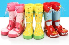 Anak-anak Hujan Boots untuk Anak Laki-laki dan Perempuan Sepatu Hujan Karet Portable Kids Waterproof Rainboots Kartun Boots Merah-Intl