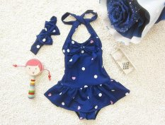 Anak Swimsuit Gadis Lucu Bayi Rok One Piece Swimsuit Dance Clothes-Biru-Intl