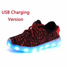 Anak Usb Isi Ulang Lampu LED Sepatu Malam Glare Fluorescent Sepatu Sepatu Warna-warni-Internasional