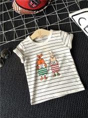 Pakaian Anak-anak Atas Nama Rambut 2017 Boys Girl Striped Kartun Kelinci T-shirt Lengan Pendek Dapat Dilengkapi dengan Celana Pendek SY309-Intl