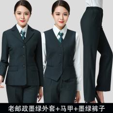 Tiongkok Post Hijau Gelap Wanita Seragam Seragam Kerja (Tua Pos Tinta Hijau Jas + Hijau Rompi + Celana)