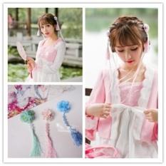Cina Kuno Kostum Cina Han Pakaian Aksesoris Segar Pink Sutra Jilbab Lolita Jepit Rambut Sisi Klip Rambut Perhiasan (Air Hijau/Pair) -Intl
