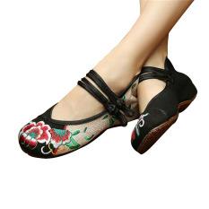Jual Beli Sepatu Bersulam Bunga Cina Perempuan Penari Balet Mary Jane Kapas Her Datar Balet Hitam 34 Internasional Di Tiongkok