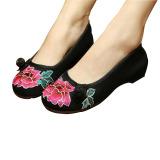 Jual Bordir Cina Floral Sepatu Wanita Ballerina Mary Jane Flat Balet Kapas Sepatunya Hitam 34 Antik