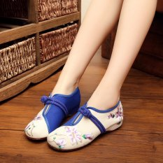 Diskon Cina Sepatu Bordir Outsole Karet Warna Blocking Botton Strap Flat Sepatu Kasual Pria Intl Zoyan