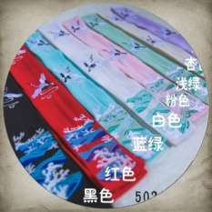 Gaya Cina Hanfu Rambut Band Perhiasan Aksesoris Rambut Tali Rambut Headdress Retro Angin Nasional Bordir Costume Performance Keluar dari Old Fashion (Crane Gaya-hitam) -Intl