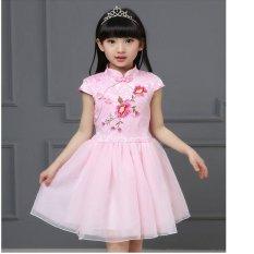 Harga Gaya Cina Kids Dress Gadis Kecil Floral Print Gaun Anak Cheongsam Gaya Gaun Anak Chipao Dress Intl Asli Oem