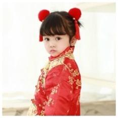 Gaya Cina Antik Hanfu Aksesoris Bayi Aksesoris Rambut Anak-anak Rabbit Bulu Bola Rumbai Tahun Baru Putri Jepit Rambut Klip (merah) -Internasional