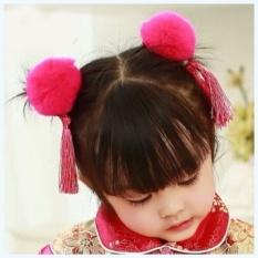 Gaya Cina Vintage Hanfu Aksesoris Bayi Anak Rambut Aksesoris Rabbit Fur Ball Tassel Tahun Baru Putri Jepit Rambut Klip (rose Merah) -Intl