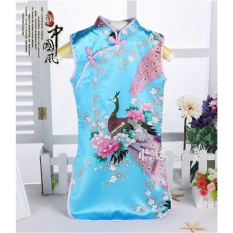 Beli Cina Indah Retro Kid Child G*rl S Baby Peacock Cheongsam Dress Qipao 1 8Y Pakaian Biru Ukuran 4 Intl Cicil