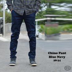 Chino Panjang Navy Blue-Biru Navi-Melar-Pensil-Katun-Dongker-Slimfit - 7667E5